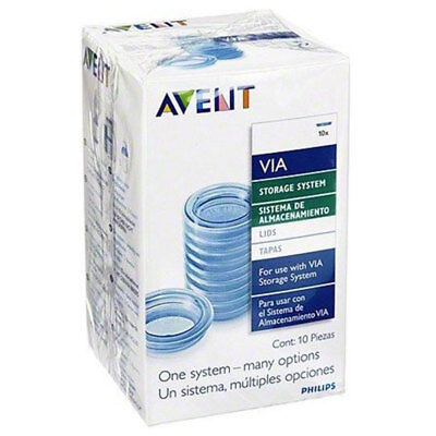Philips Avent Via 10 X Replacement Lids For Milk Storage Feeding System Piece