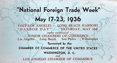 Blotter CA Los Angeles LA Chamber Commerce National Foreign Trade Week 1936