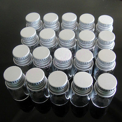 Lot 100Pcs 16x26mm Tiny Small Clear Bottles Glass Vials 2.0ml 1/2 Dram With Caps