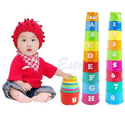 9Pcs Children Kids Baby Educational Figures Letters Folding Cup Pagoda Stack Toy