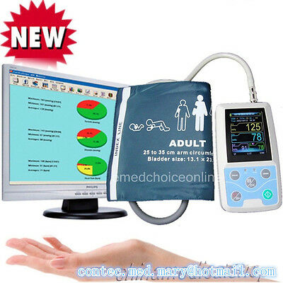 USA shipped, 24 hours Ambulatory Blood Pressure Monitor Holter ABPM with  Cuff