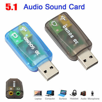 USB 5.1 to 3.5mm mic headphone Jack Stereo Headset 3D Sound Card Audio Adapter