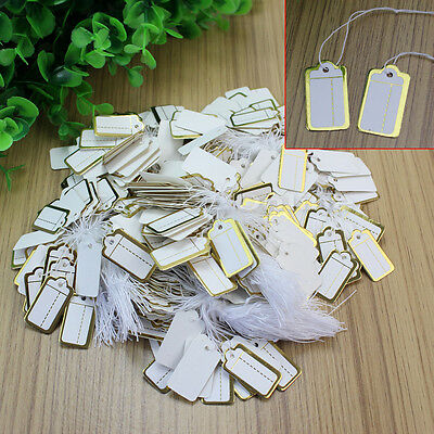 500x Strung Price Ticket Tags Labels Retail Gold Border Clothing Sticker Tie