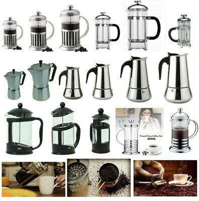 Stainless Steel Glass Cafetiere Ground Coffee Filter Maker Coffee Press Plunger