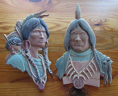 Old Sexton Metal Wall Plaques Native American Indian Chief Woman Baby Papoose Pr