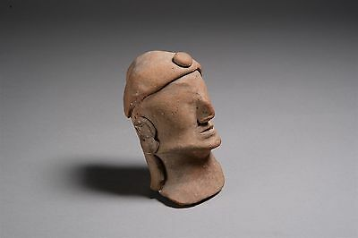 Ancient Cypriot Terracotta Head Of A Votary / Worshipper - 650 BC