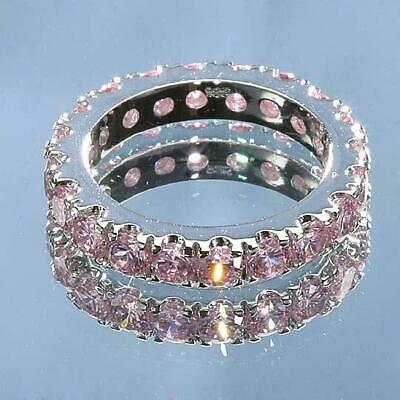Wholesale Lot 3 Pc Dazzling Pink Topaz CZ Sterling Silver Eternity Band Ring