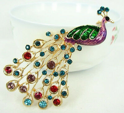 Peacock Peafowl Splendid Tail Pendent Charm Chain Crystal Purse Bag Key Ring Gif