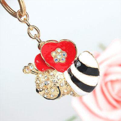 White Bee Honey Pendent Charm Chain Rhinestone Crystal Purse Bag Key Ring Gift