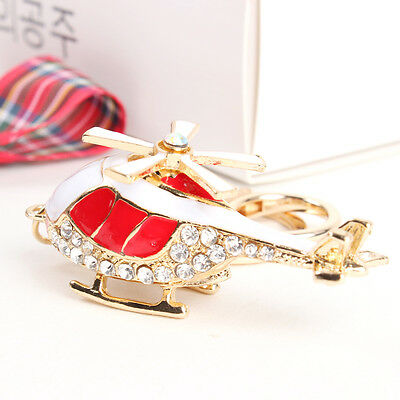 Red Plane Helicopter Lovely Pendant Crystal Purse Bag Key Chain Accesories FINE