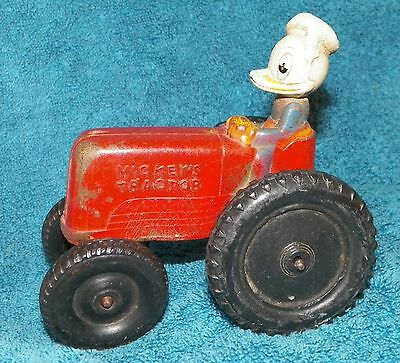 1940'S SUN RUBBER MICKEY'S TRACTOR DRIVEN BY DONALD DUCK