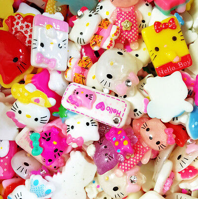 Assorted Hello Kitty Lot of Cute Resin Flatback Cabochons DIY Craft Kit Supplies