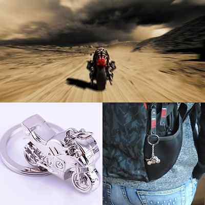 Fashion Cute Cool Punk Motorcycle Key Ring Chain Motor Silver Metal Keychain New