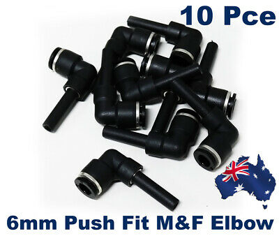 10 X Push Fit 6mm Pneumatic Elbow Male/Female.