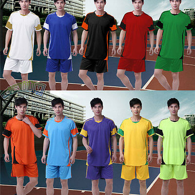 Blank Basketball Soccer Athletic Work out Fitness Jersey T-shirt + Shorts Suits