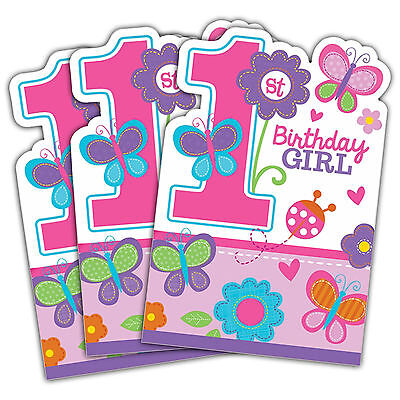 8 Sweet Pink Butterfly Girls 1st Birthday Party Invitations Plus Envelopes