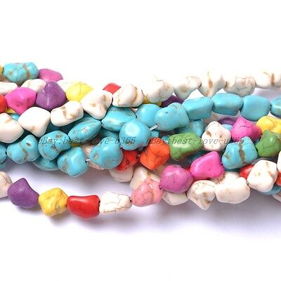 1Strand Howlite Turquoise Gemstone 12MM Freeformed Nugget Loose Spacer BEADS