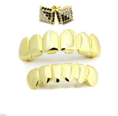 14K Gold Plated Hip Hop Teeth Grillz Top & Bottom Set plus Micro Pave Earrings