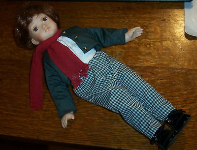 1996 Phyllis Wright Collectible Porcelain Music Box Boy Doll C757