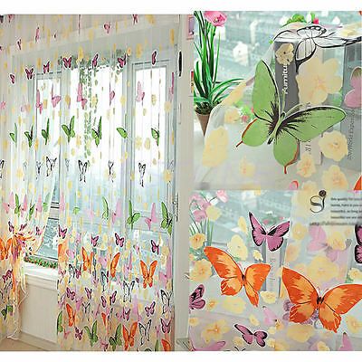 1 Butterfly Print Sheer Curtain Panel Colorful Window Balcony Tulle Room Divider