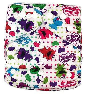 Modern Cloth Reusable Washable Baby Nappy Diaper & Insert, Jelly Been Elmo