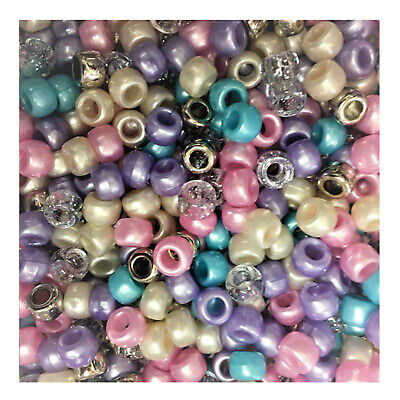 100 Fairytale Pony Beads Loom Bands Dummy Hair Pink Purple Blue White Silver