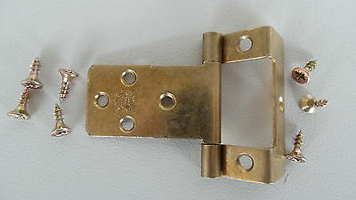 "HINGES:PAIR OF SINGLE CRANKED FLUSH HINGE with PLAIN PIN ELECTRO BRASSED ¾"" & ⅝"""