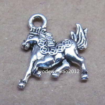 20pc Retro Tibetan Silver Charm Money Horse Animal Accessories wholesale  PL054