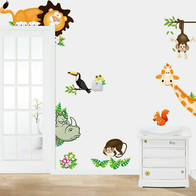 Safari Jungle Animals Kids Wall Stickers Decal Lion Giraffe Rhino Monkey Art DIY