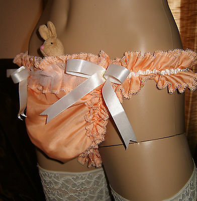 Sissy Maid Adult Baby Frilled Peach Pouch Thong Pants