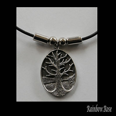 Choker #355 Pewter TREE OF LIFE (30mm x 23mm) Rubber Necklace unisex