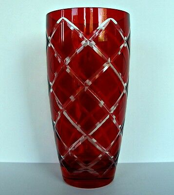 "Ruby Red Glass Vase Clear Cut Diamond Argyle Pattern 8.5"" Tall To Valentines Day"