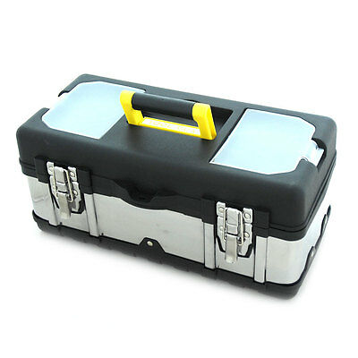 """Stainless Steel Toolbox Tool Box Chest Storage DIY Metal With Tray Tools 16"""""""