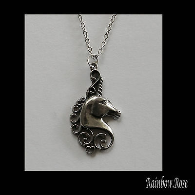 Pewter Necklace on chain #238 FANCY UNICORN HEAD - Silver Tone