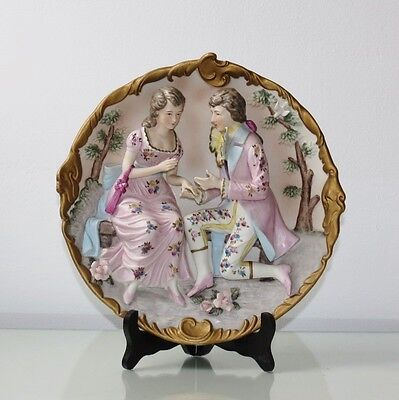 """11.4 """"3D Porcelain Wall Sconce Plaque Relief Scene of Lovers Chic Bisque Figure"""