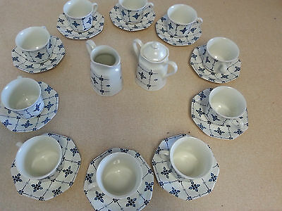 J&G Meakin Royal Staffordshire Blue/White Ironstone Cups,Saucers,cream,sugar 23p