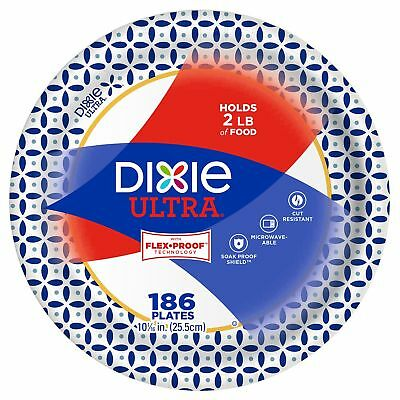 Dixie Ultra Paper Plates 10 1/16 in Heavy Duty Disposable Large Picnic  - 186 ct