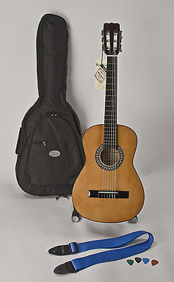 Left Handed Guitar 3/4 Size With Easy Playing Nylon Strings For Child Or Adult