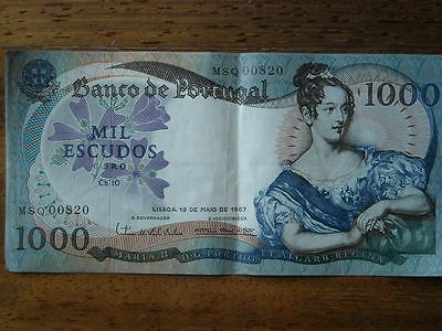 Portugal Used Pte 1000 Escudos Banknote Bill 1967 Serial # Msq 00820