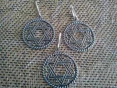 ISRAEL JEWISH RELIGION 3 STAR OF DAVID ZIPPER-PULLS / PENDANT ALL NEW.