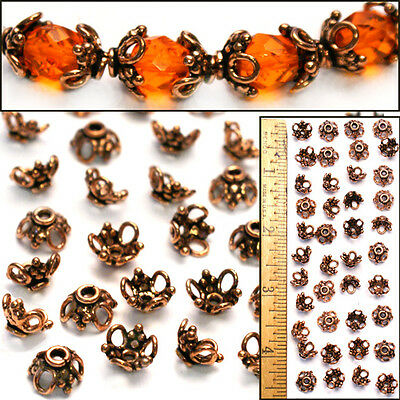 12mm Bali Style 100% Solid COPPER Circle/Dot Lacy Filigree Bead Caps 40pc