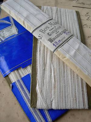 3 lengths antique French linen cotton lace header tape inserts original packets