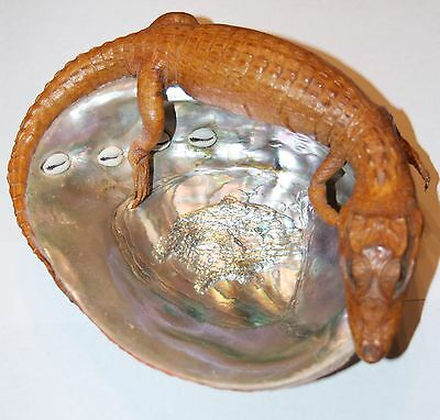 Vintage Alligator Taxidermy & Abalone Mollusk Shell Mother of Pearl Souvenir FL