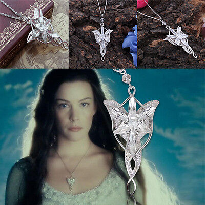 Vintage Lord of the Rings Hobbit  Arwen Evenstar Silver Tone Pendant Necklace