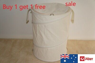 Pop Up Laundry Hamper Canvas Foldable Round Storage Basket Bin Bag Zipper New