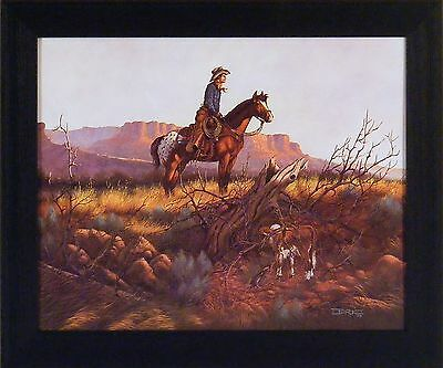 PISTOL BIT AND RIFLE by Barry Hart 16x20 Western Cowboy Hat FRAMED PICTURE HCD