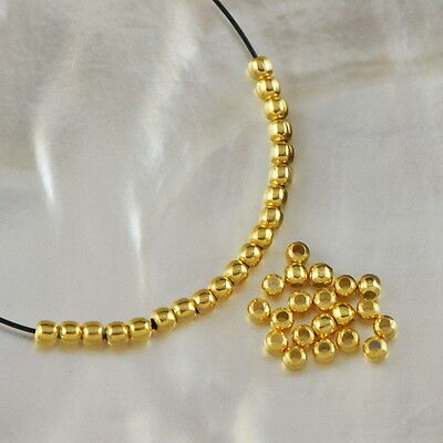 24K Gold Vermeil on 925 SILVER 20 Tiny 1.80mm Round BEADS 3-Micron Plated 0.28 g