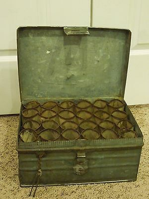 Vintage Metal Storage Box with Pin Lock Sectioned Cylinder Storage Unknown Maker