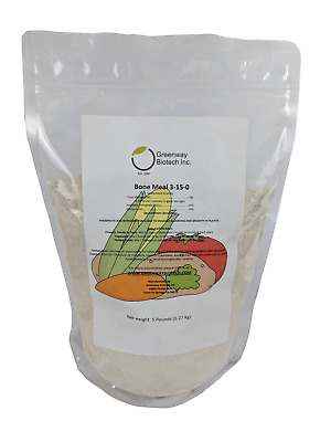 5 LB Organic Bone Meal 3-15-0 Plus 24% Calcium Great for Blooms & Roots Growth