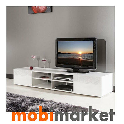 Bajo TV moderno de Salón de 260 cm. en color blanco, Mueble TV blanco de 260 cm.